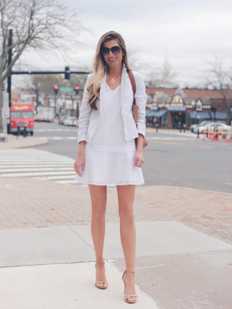 white eyelet dress with blazer - workwear spring travel outfit