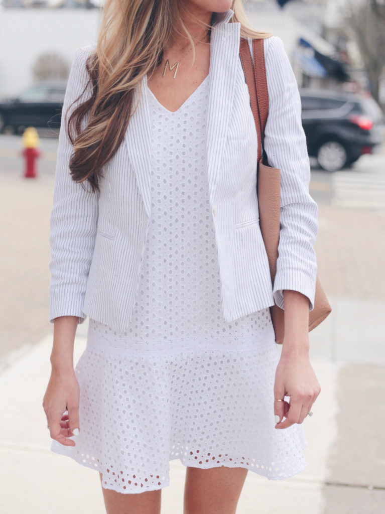 workwear - eyelet dress with striped blazer - spring travel outfit on pinteresting plans blog