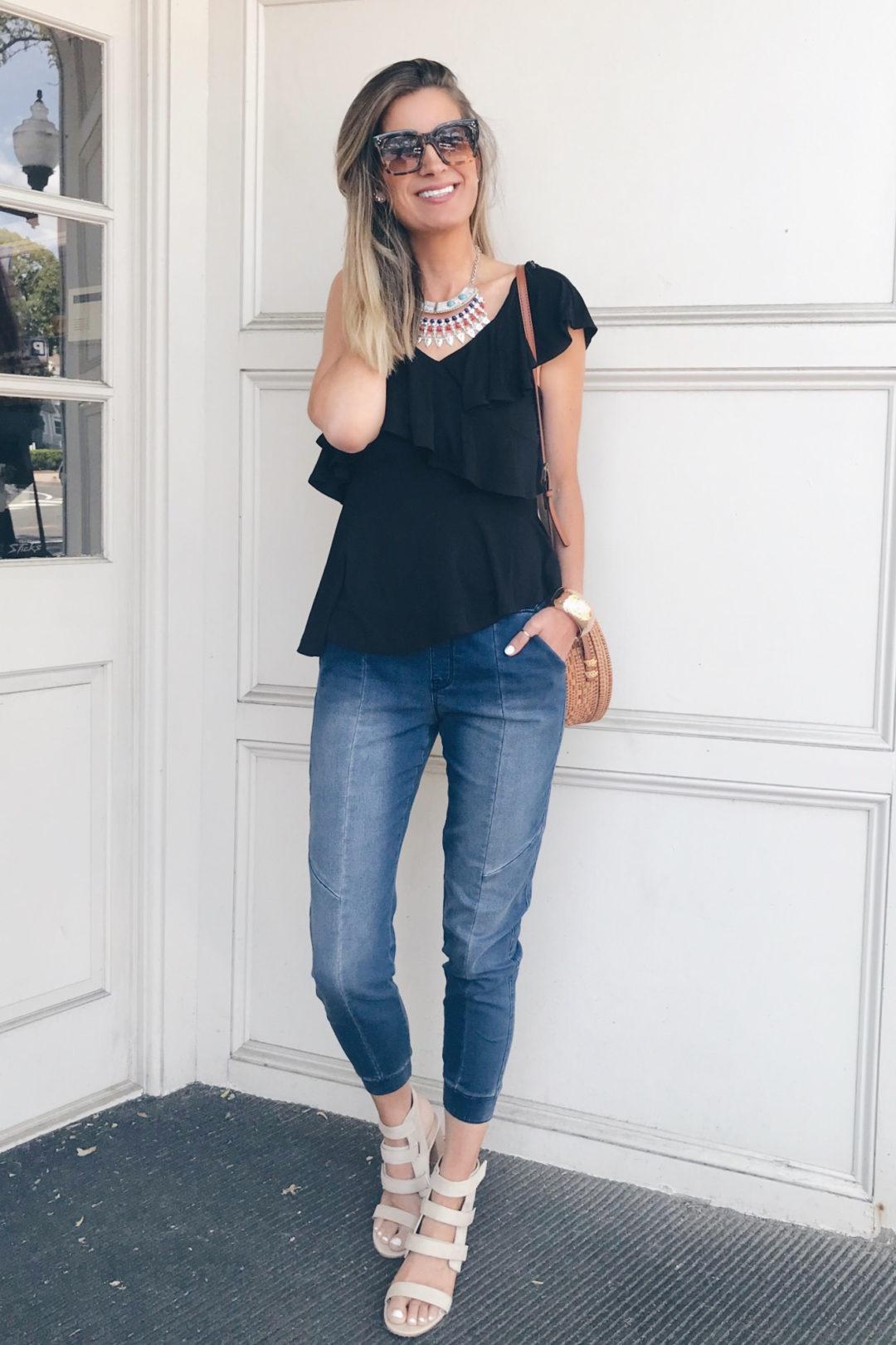 e4b52d24d92c Date Night Denim Joggers Outfit - Pinteresting Plans Connecticut Fashion  Blog