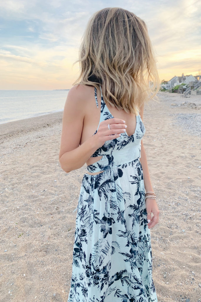 warm weather vacation outfit ideas - floral maxi dress on pinteresting plans connecticut fashion blog