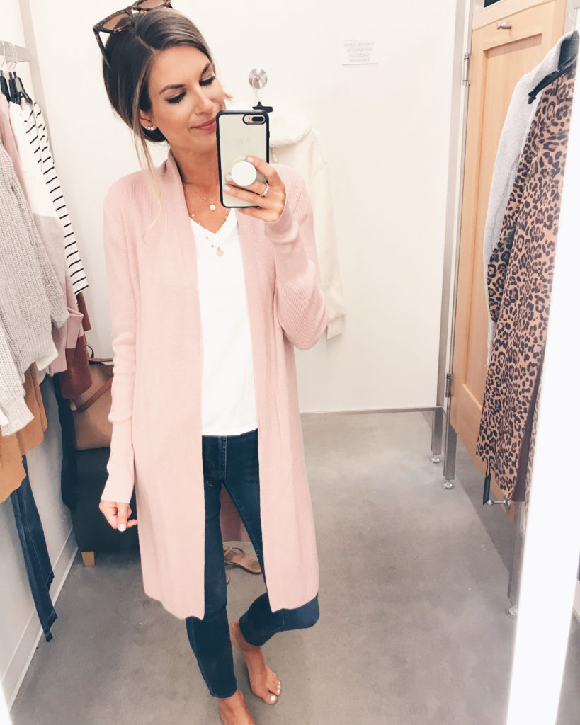 pink duster cardigan fall outfit - pinteresting plans blog