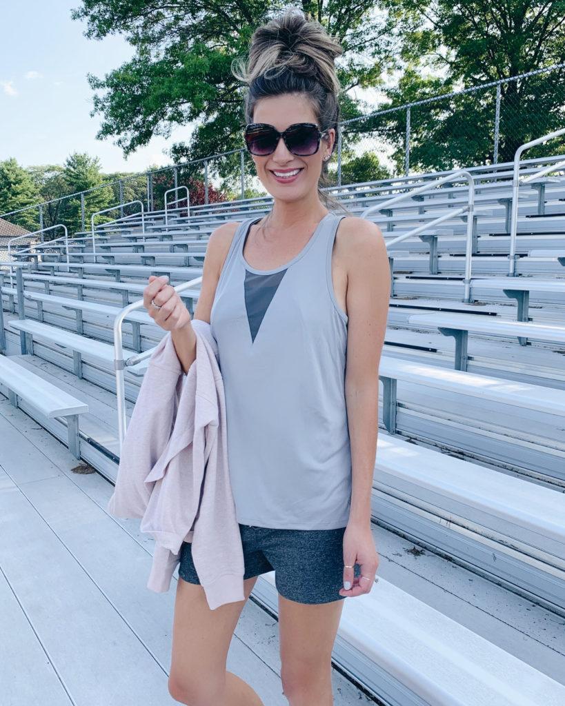 connecticut fashion blogger rachel moore from pinteresting plans wearing jockey gray 2-in-1 tank top