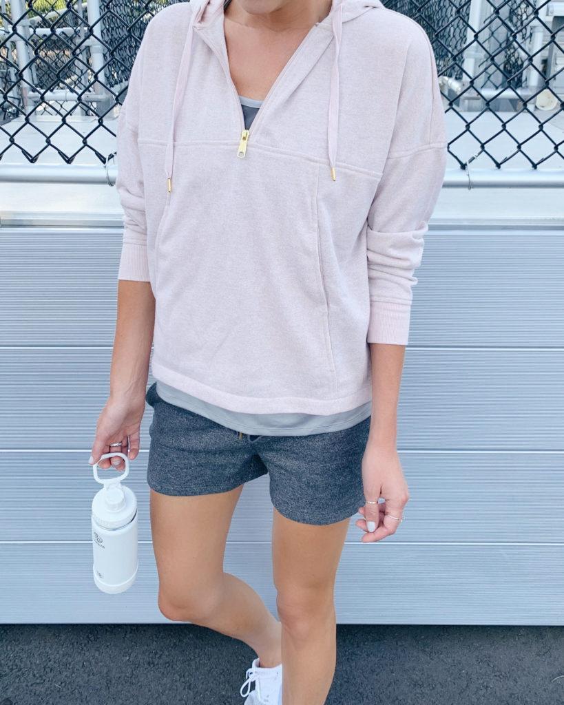 connecticut fashion blogger rachel moore from pinteresting plans wearing jockey mauve glitter half zip hoodie