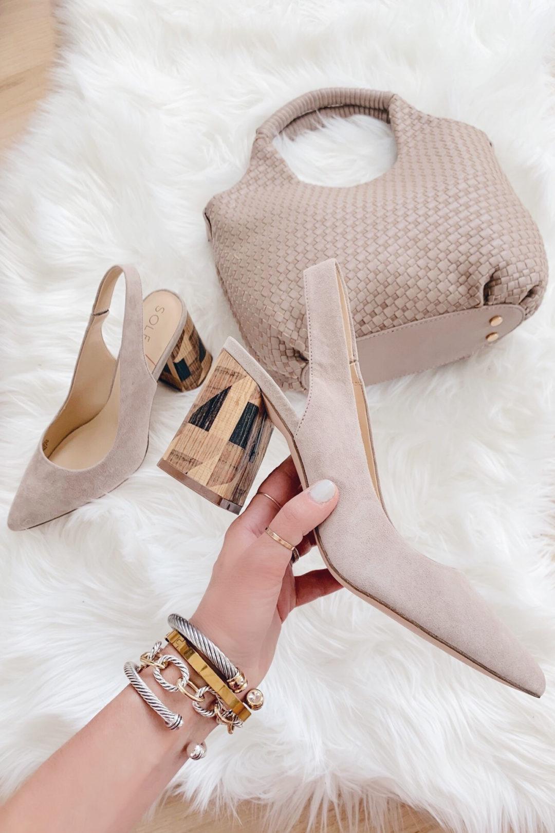 taupe suede block heel pumps and taupe handbag - pinteresting plans blog