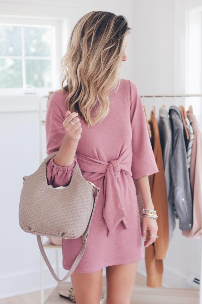 tie front mauve amazon dress and taupe handbag - pinteresting plans fashion blog