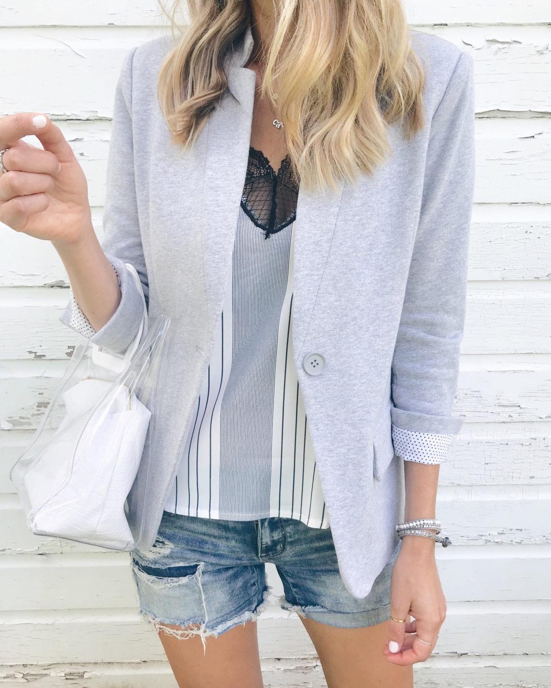Victoria Emerson Labor Day sale favorites - gray wrap bracelet and blazer on fashion blogger Rachel Moore of pinteresting plans blog