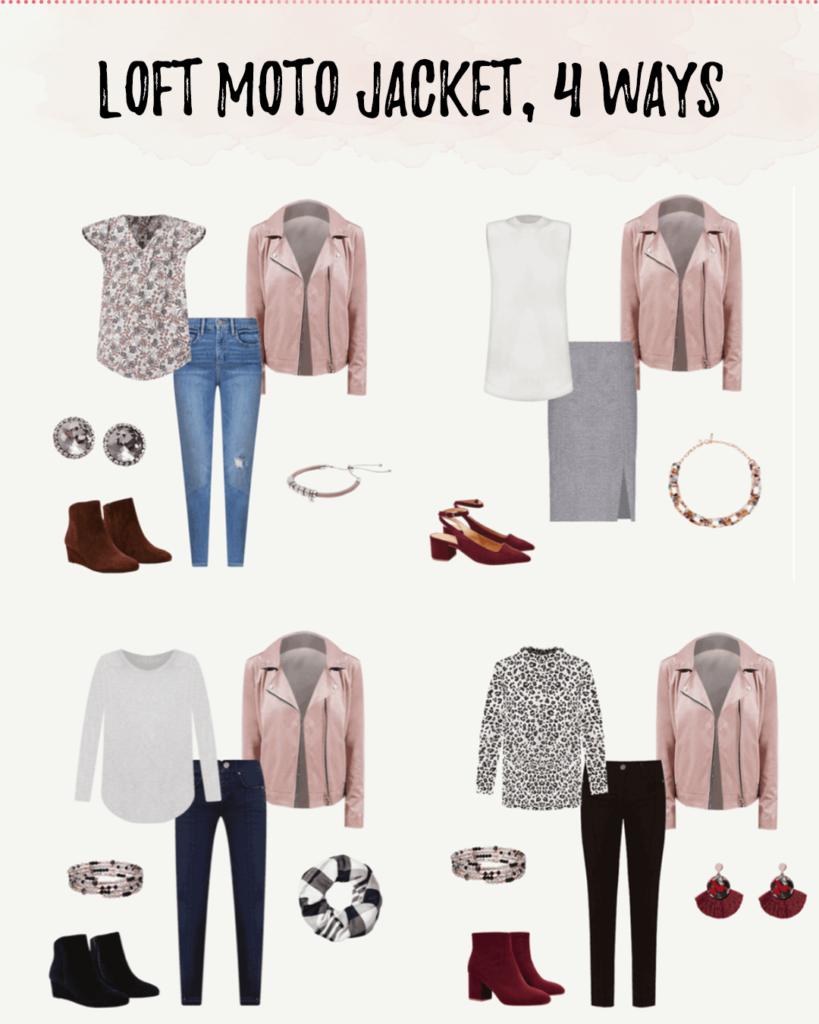 4 ways to style loft faux suede pink mauve moto jacket on pinteresting plans blog