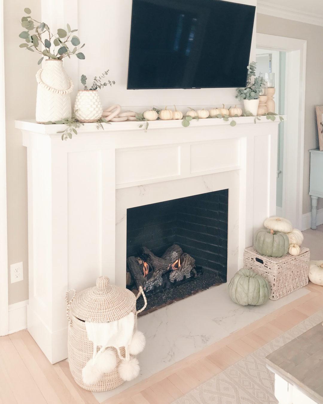 neutral fall mantle decor - Pinteresting plans blog