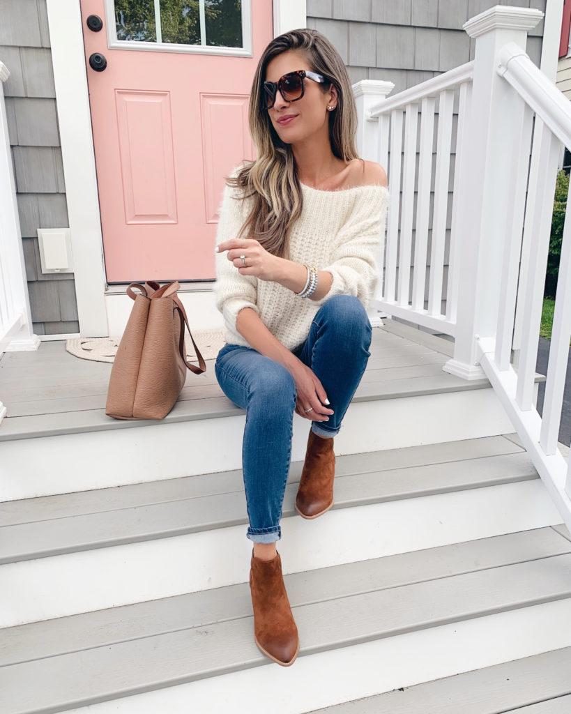 Fashion blogger wearing cognac vegan booties - pinteresting plans blog