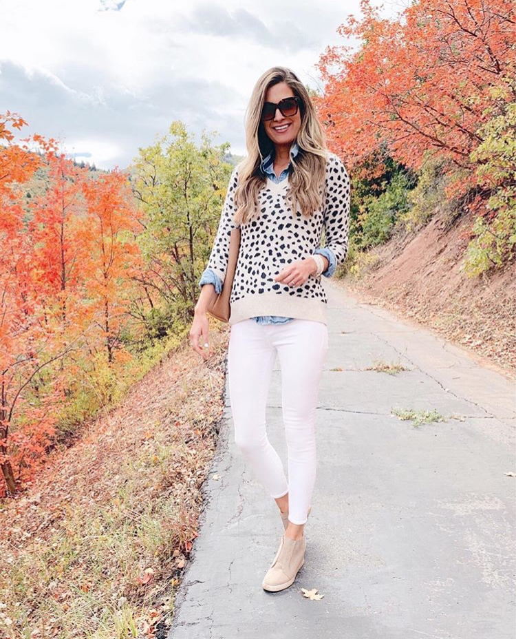 fashion blogger wearing leopard sweater layered over chambray button down - teacher outfit inspiration