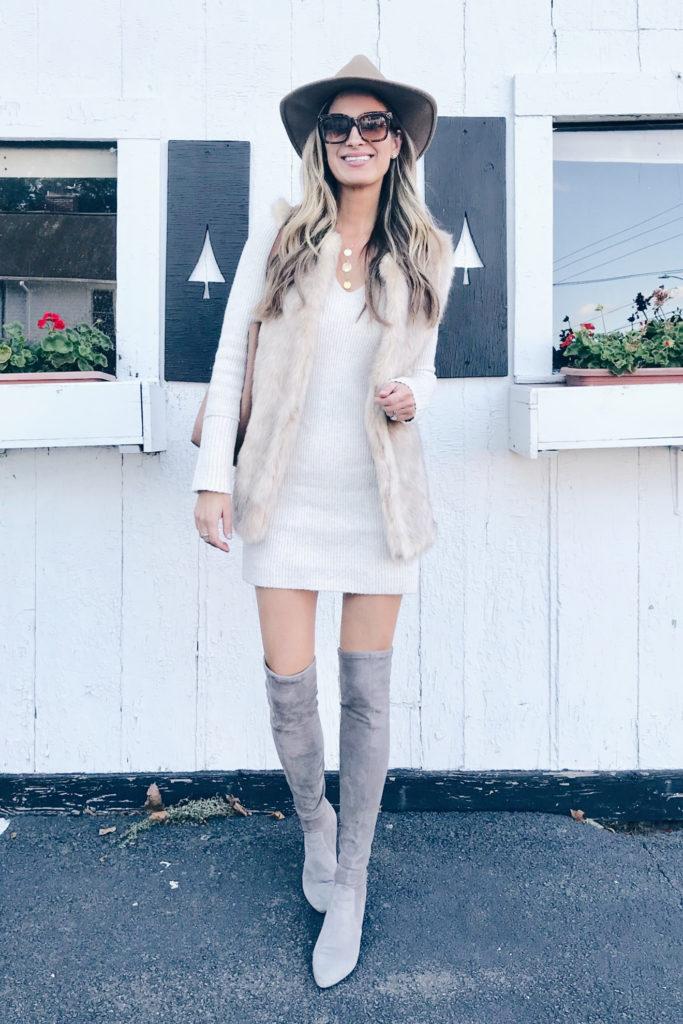 fashion blogger styling something navy sweater dress dressed up