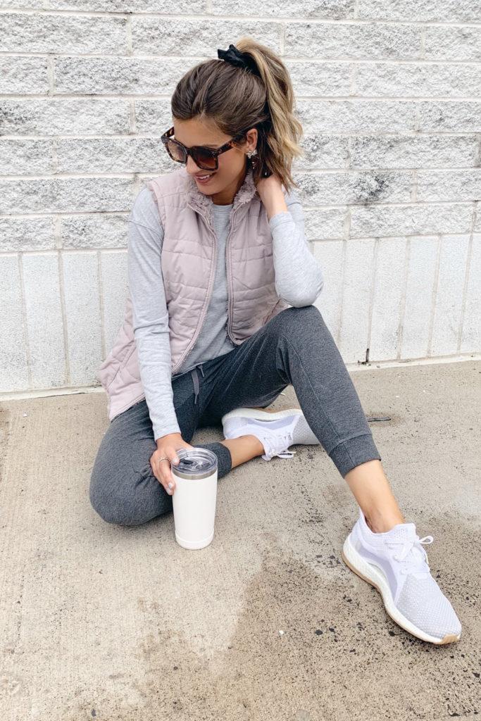 fashion blogger wearing jockey charcoal grey ponte joggers