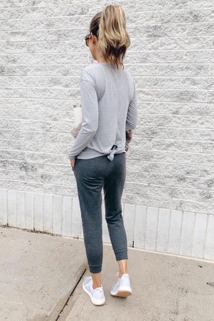 fashion blogger wearing womens jockey grey tie back long sleeve top