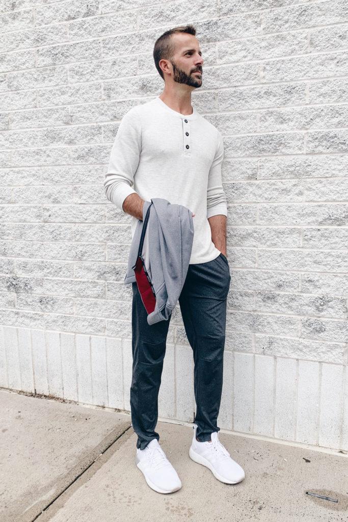 mens fashion blogger wearing jockey oatmeal waffle henley long sleeve top