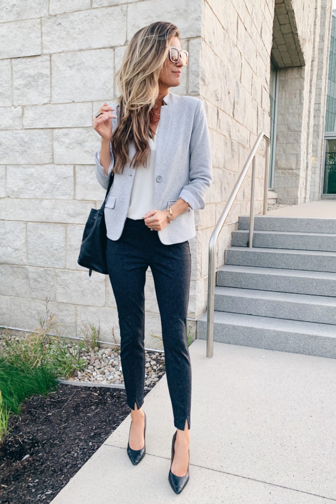 fashion blogger wearing nordstrom gibson notch collar grey blazer