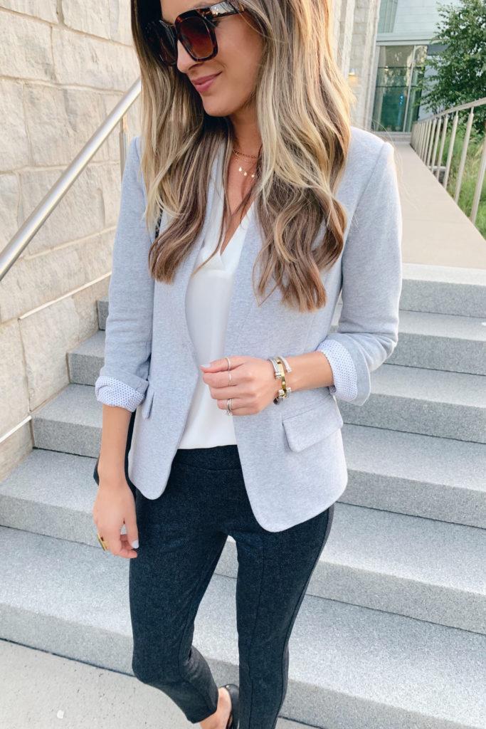fashion blogger wearing nordstrom gibson notch collar grey blazer