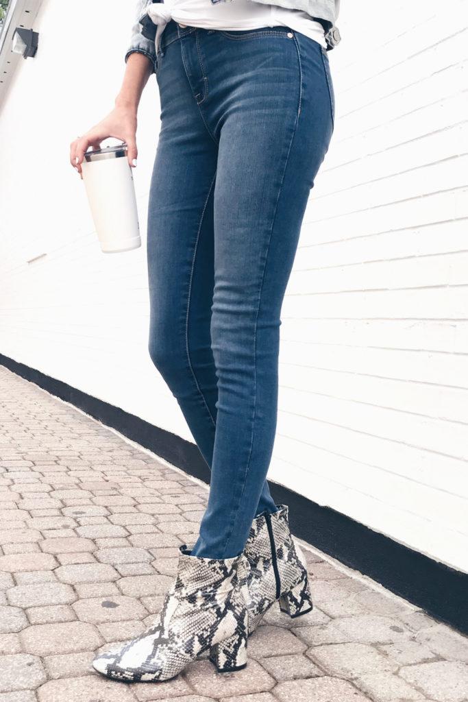 Fashion blogger wearing snake print mid booties - pinteresting plans blog