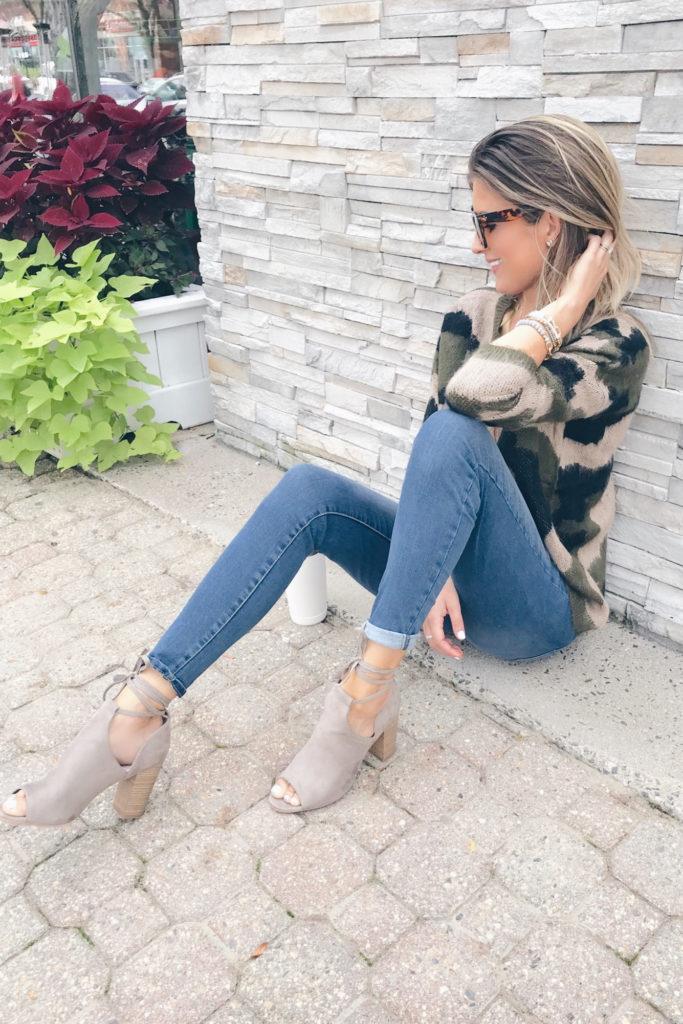 Fashion blogger wearing taupe heeled sandals - pinteresting plans blog