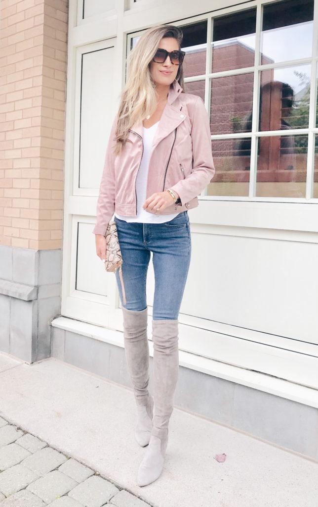 fashion blogger wearing loft rosy pink mauve faux suede moto jacket