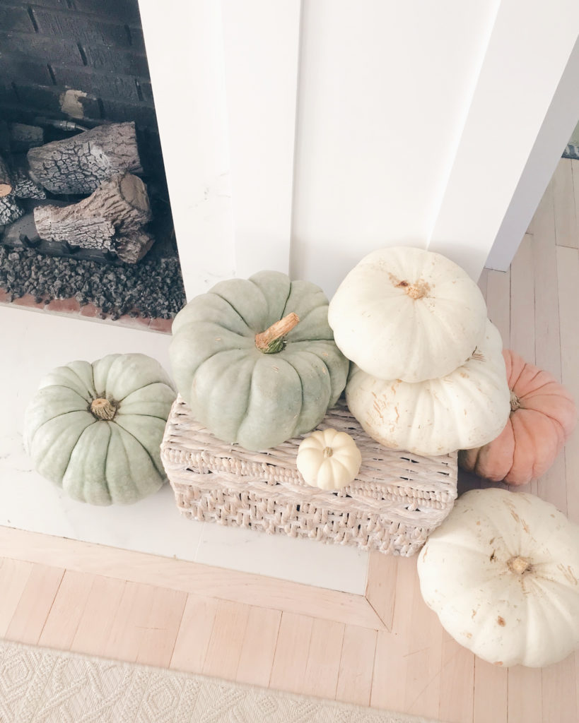 white and green pumpkins surrounding neutral fall mantle decor - pinteresting plans blog