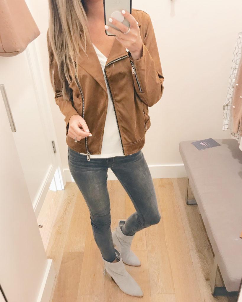 faux suede moto jacket on sale - pinteresting plans fashion blog