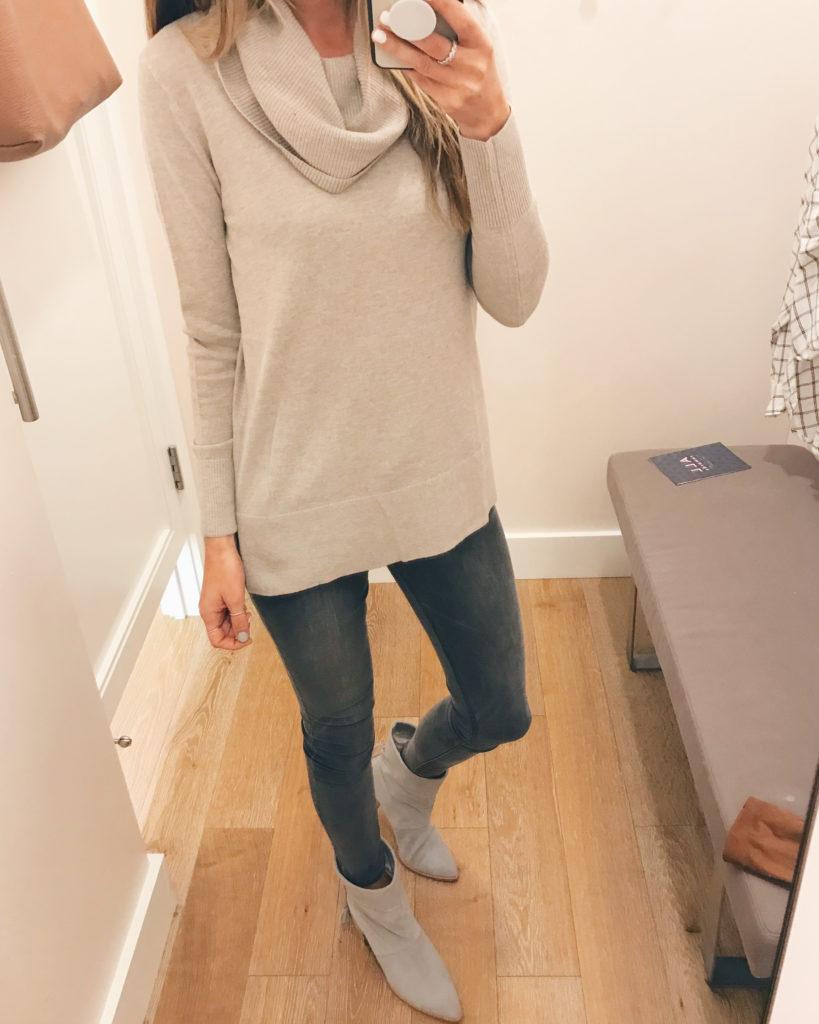 cowl neck tunic sweater on sale - pinteresting plans fashion blog