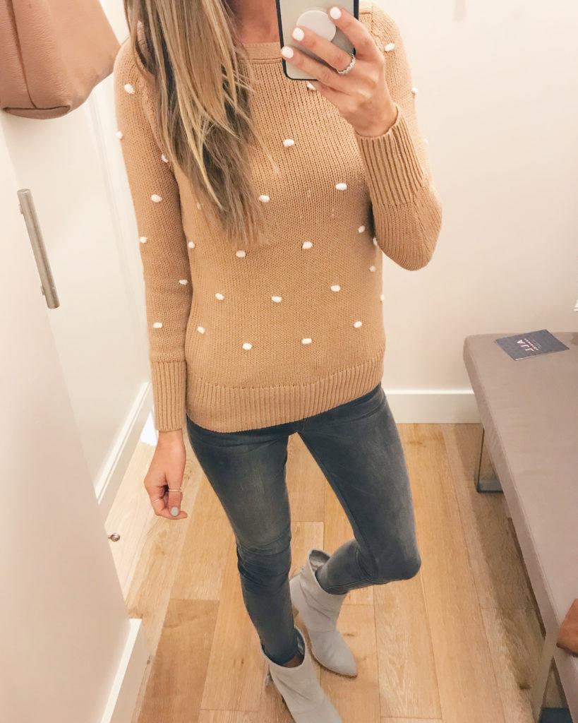 textured camel dot sweater - on sale - pinteresting plans fashion blog