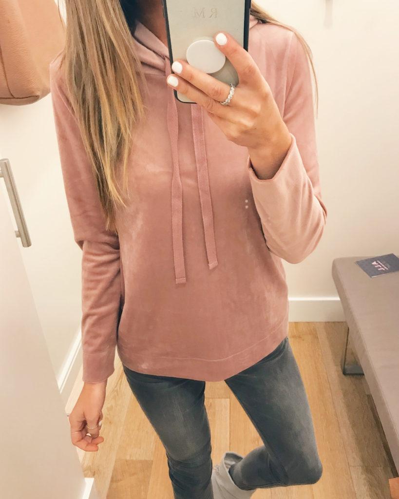 blush velour hoodie on sale - pinteresting plans fashion blog