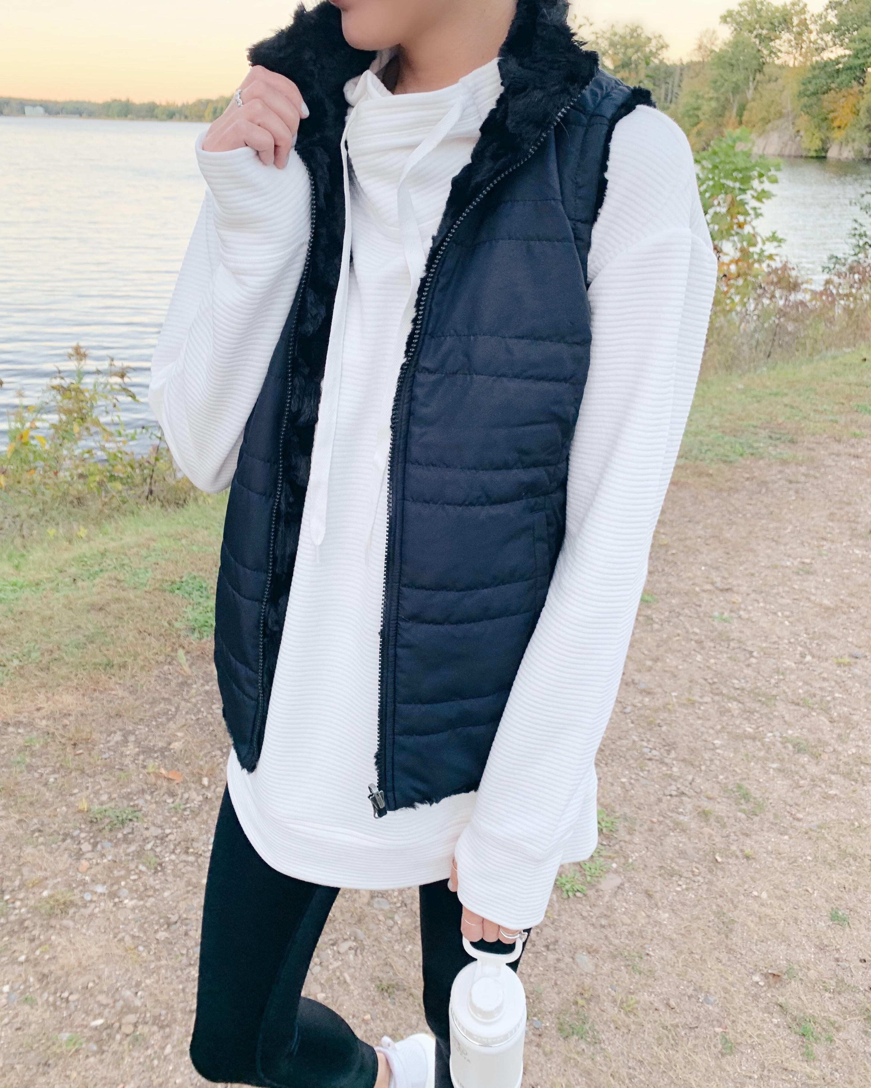 black reversible faux fur vest - pinteresting plans fashion blog