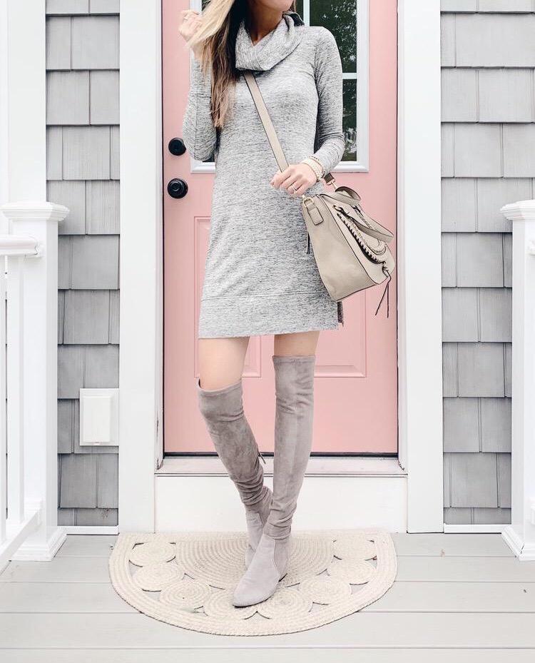 pinteresting plans amazon terry long sleeve cowl neck grey sweater dress