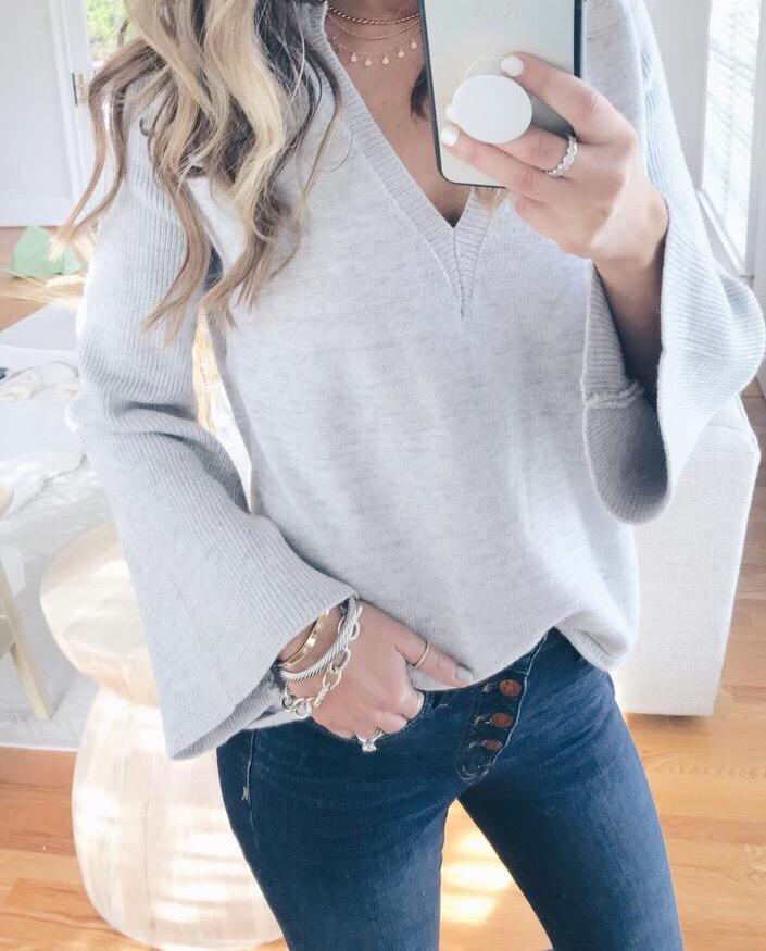 pinteresting plans amazon vneck bell sleeve knit sweater