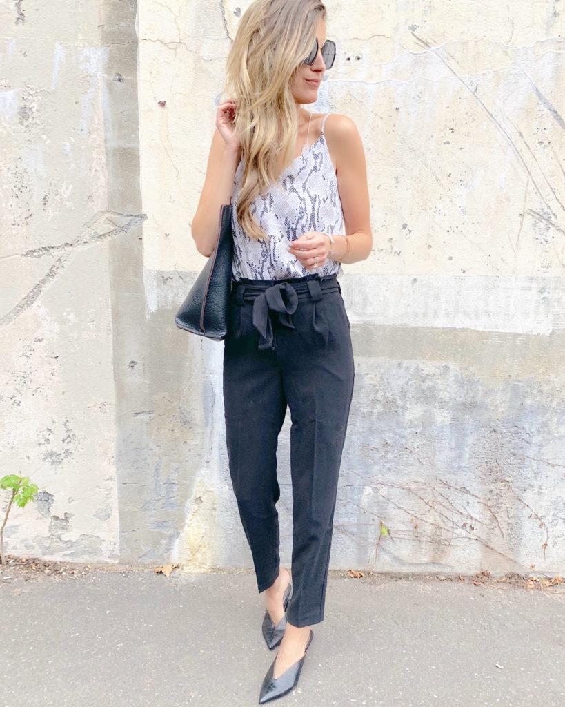 fashion blogger wearing express crocodile texture black heeled mules