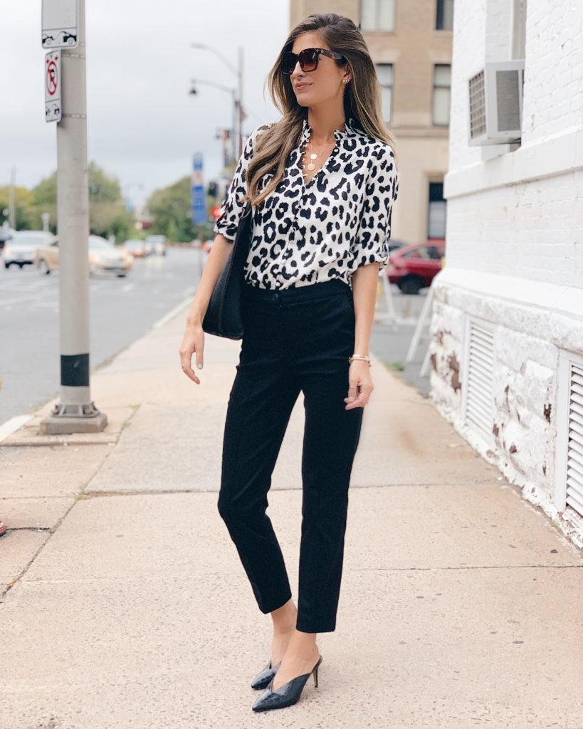 Fashion blogger wearing express office attire crocodile texture black heeled mules