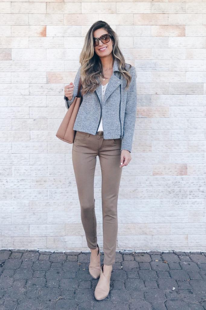 fashion blogger wearing loft knit Moto jacket - teacher outfit on pinteresting plans blog