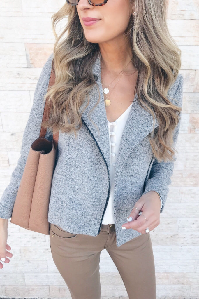 fashion blogger wearing loft knit Moto jacket - teacher outfit on pinteresting plans blog