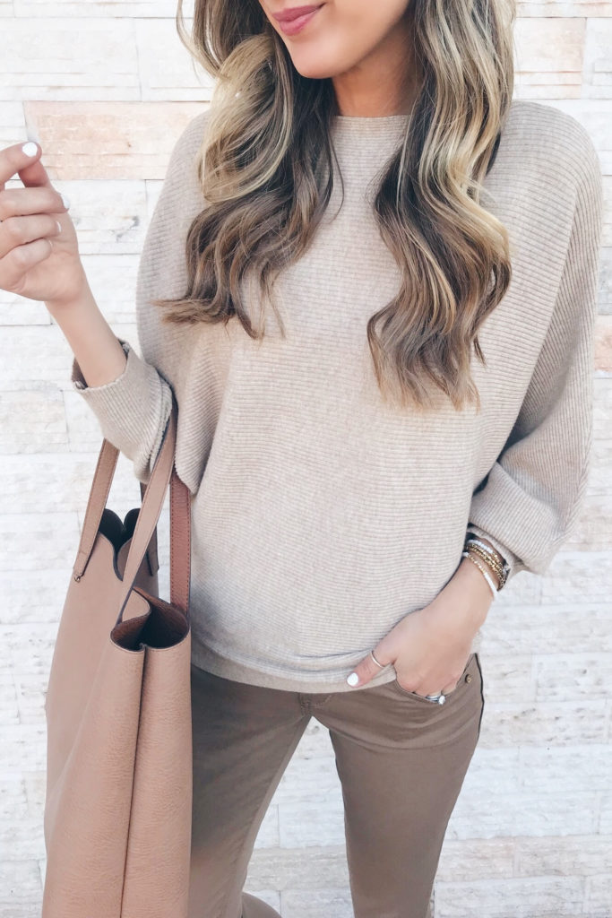 fashion blogger wearing amazon dolman sweater - teacher outfit inspiration on pinteresting plans blog