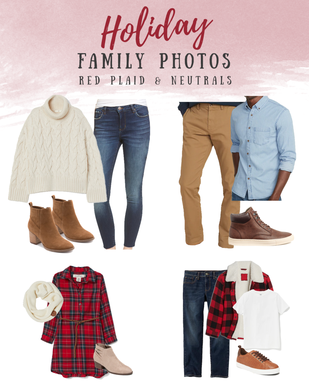 Holiday photo outfit ideas for the family - neutral cream and blue denim outfits theme