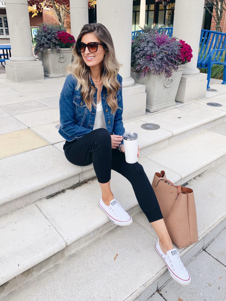nordstrom gibson black joggers with white lace cami and converse white shoreline sneakers
