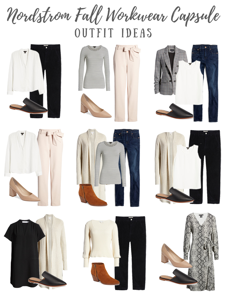 nordstrom womens minimalist business casual workwear capsule wardrobe for fall