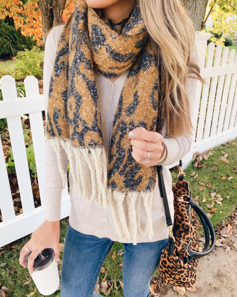 fashion blogger wearing sole society reversible oversize leopard fringe scarf