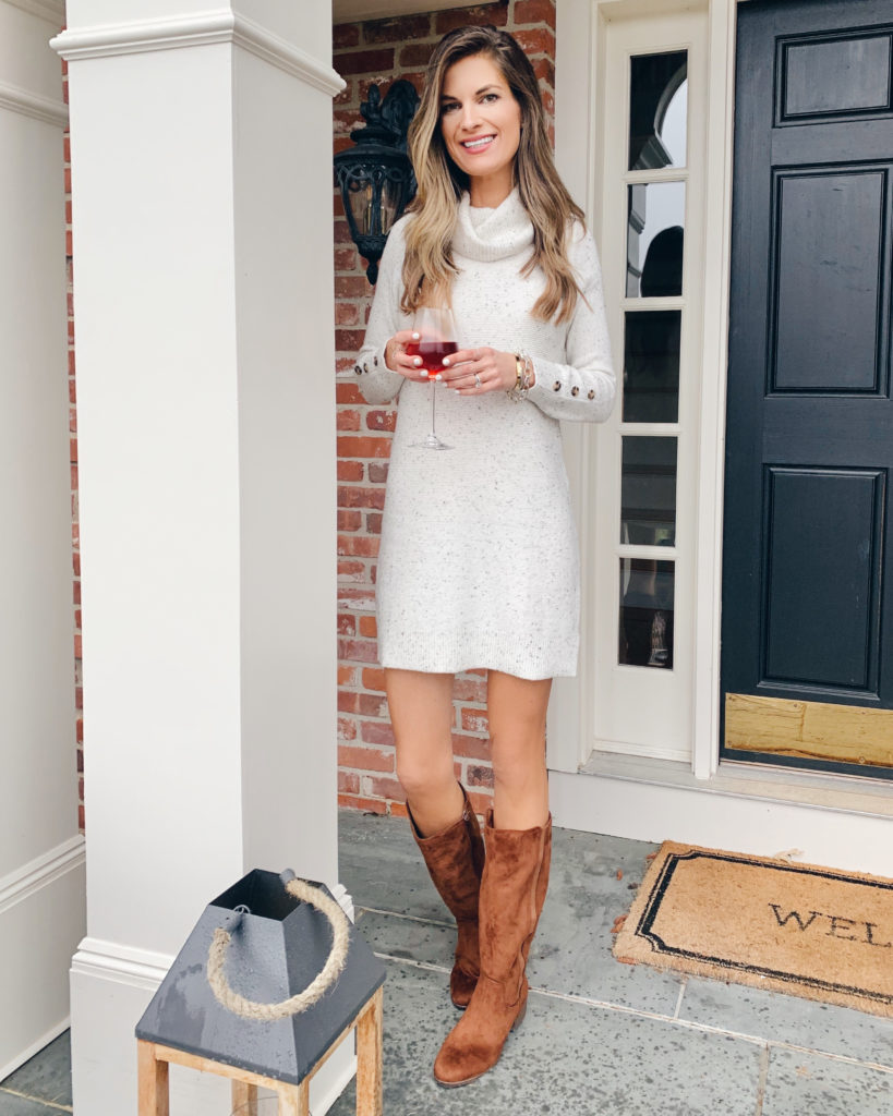 walmart time and tru cowl neck button sleeve sweater dress with tall brown boots