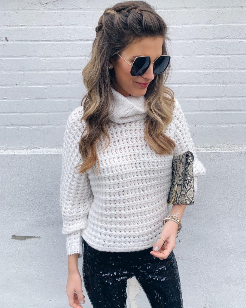 Express cream oversized cow neck knit dolman sweater
