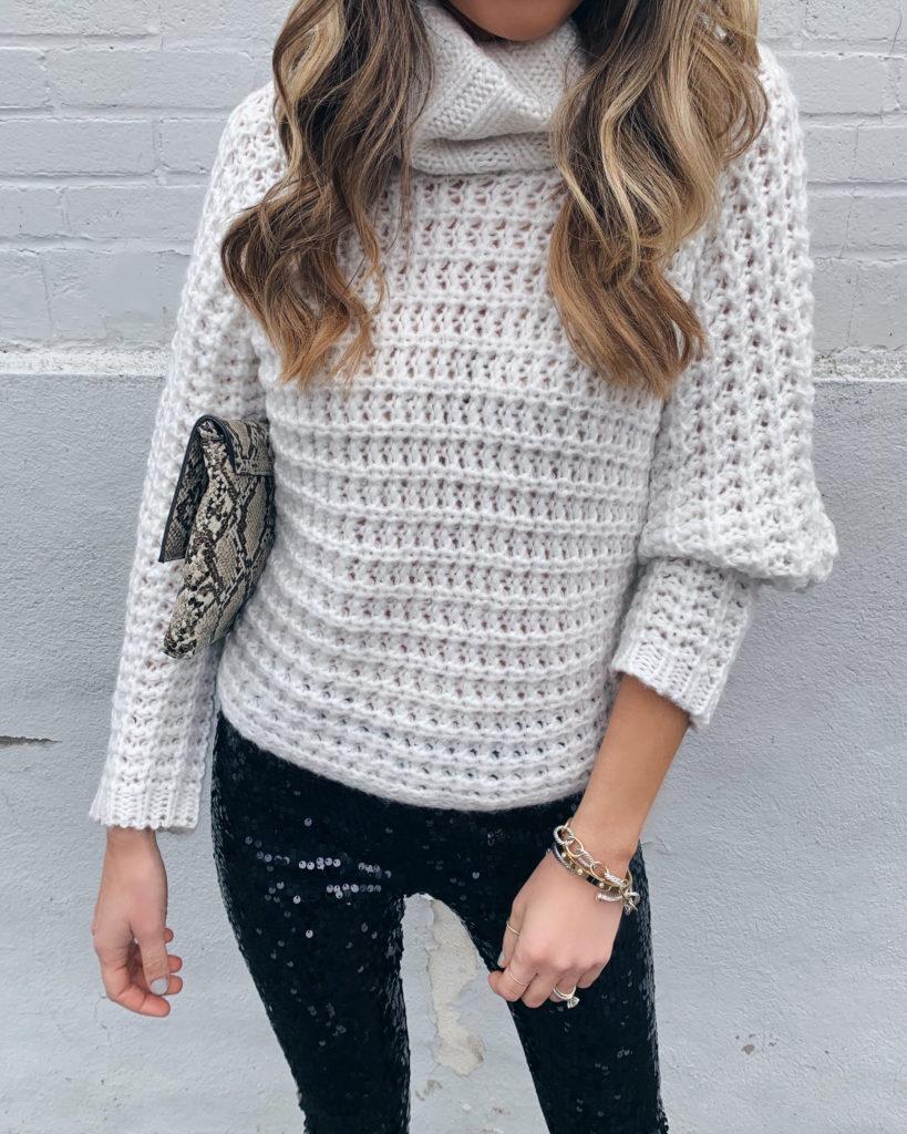 Express cream oversized cowl neck knit dolman chunky knit sweater