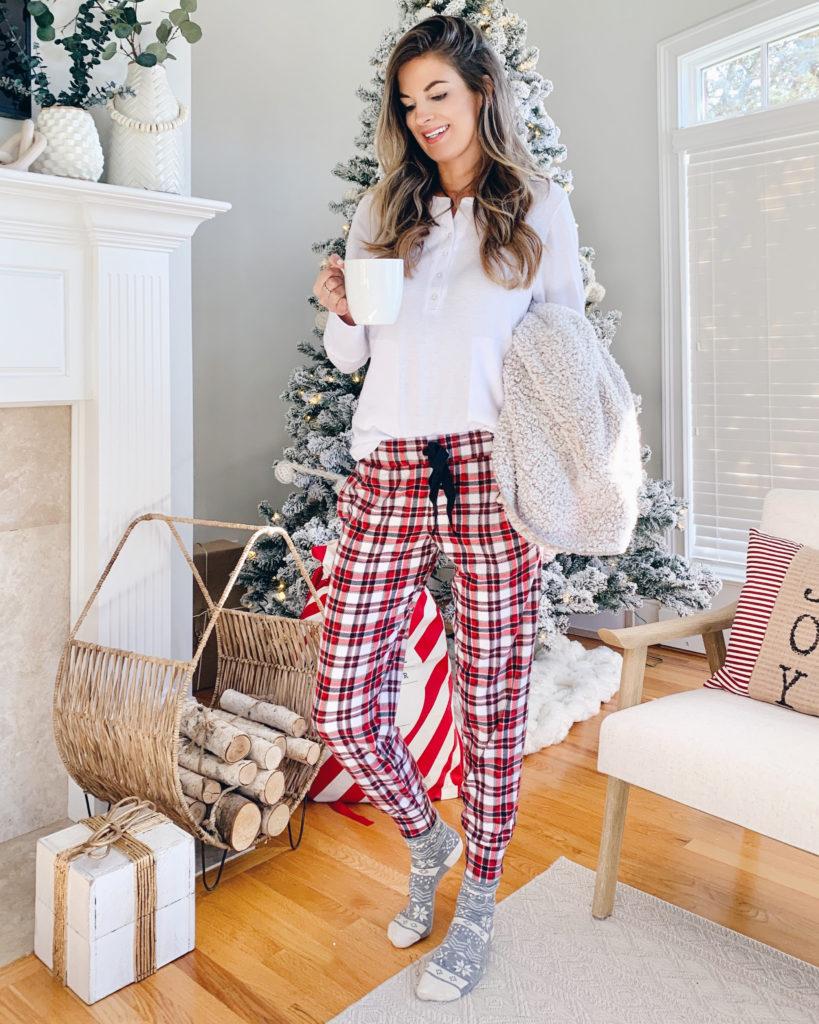 christmas holiday red plaid pajama jogger pants for tall women - pinteresting plans blog