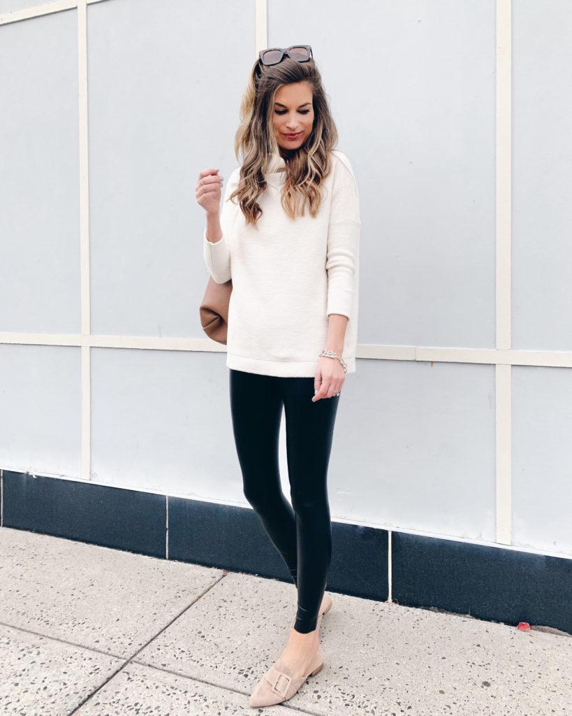 commando black faux leather leggings with free people cream ottoman tunic sweater halogen elyssa buckle mules