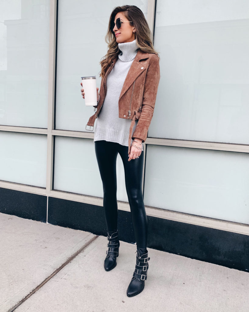 grey turtleneck sweater with blanknyc coffee bean suede moto jacket faux leather leggings and steve madden hattie bootie