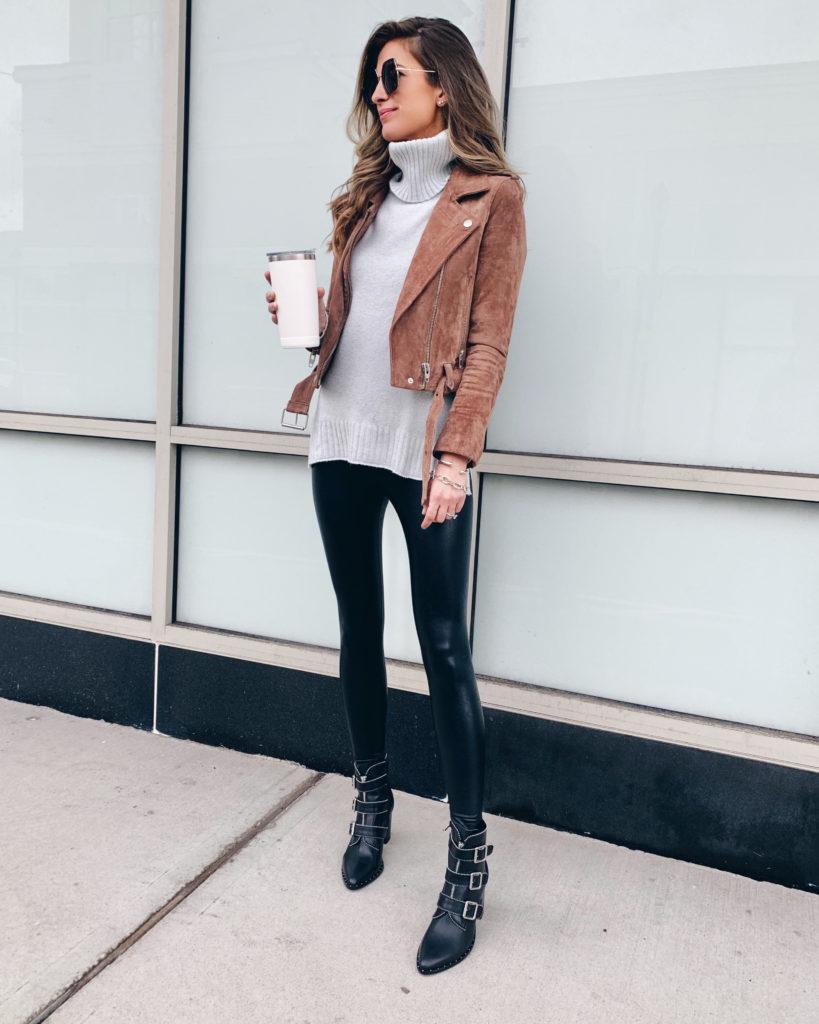 grey turtleneck sweater with blanknyc coffee bean suede moto jacket faux leather leggings and steve madden hattie bootie