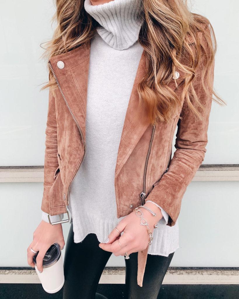nordstrom bp grey longline turtleneck sweater with blanknyc coffee bean next level suede moto jacket