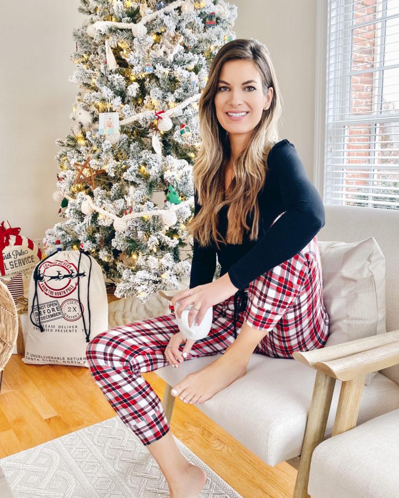 Jockey women's black long sleeve crew top with red and white plaid joggers - christmas pajamas