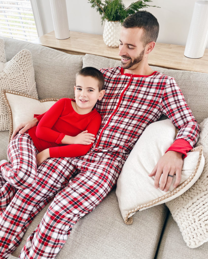daddy and me father and son matching red and white jockey holiday pajamas